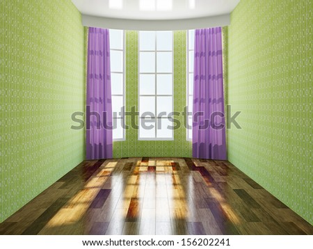 The green empty room with windows - stock photo