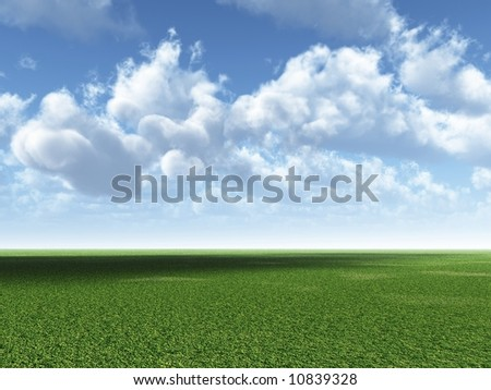 The green field and beautiful white clouds - digital artwork
