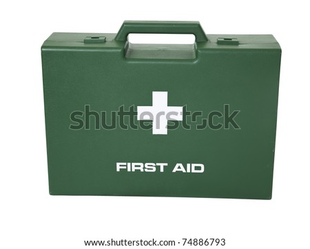 The green first aid box in white background. - stock photo