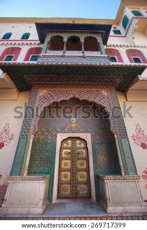The Green Gate in Pitam Niwas Chowk, Jaipur City Palace, India. - stock photo