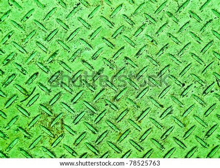 The Green grunge steel floor plate background texture - stock photo