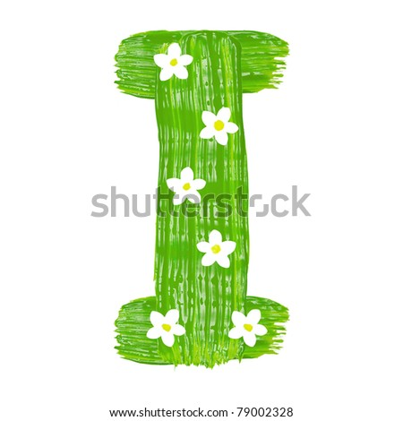 The green letters I drawn by paints with white blossom