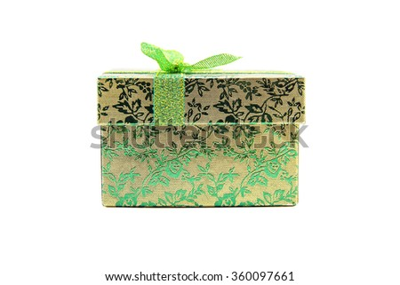 The green - metallic gift box with ribbon bow. Holiday present. Object isolated on white background. - stock photo