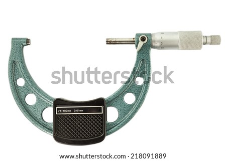 The green micrometer  on a white background - stock photo