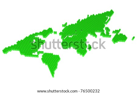 The green polygons map of the world
