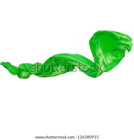 The green silk every color on a white background - stock photo
