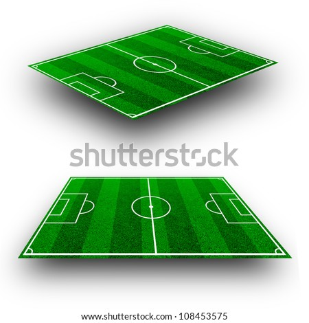 The green soccer field with lines in perspective geometry - stock photo