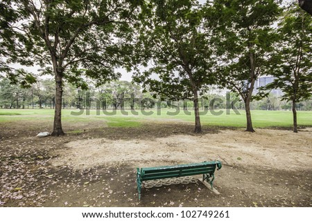 The greenin park landscape gives us the fresh atmosphere among the trees and clear sky. - stock photo
