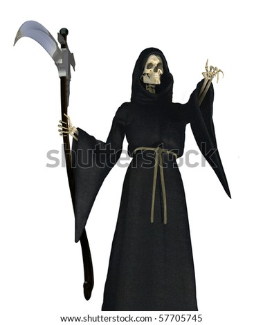 The Grim Reaper pointing - 3D render.