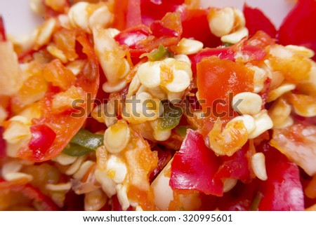 The grinding paprika seeds for cooking.style image blur. - stock photo