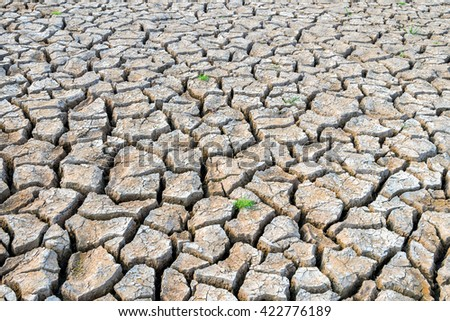 The ground is dry and cracked ground. - stock photo