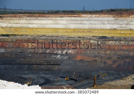 The Ground layers in the open pit - stock photo