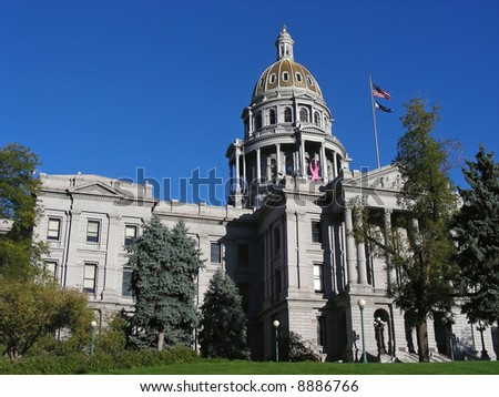 The grounds of the Colorado State House, Denver. - stock photo