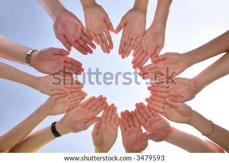 The group has connected hands