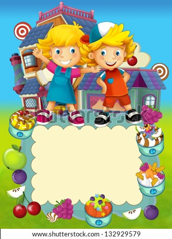 The group of happy preschool kids - cover - candy shop - colorful illustration for the children