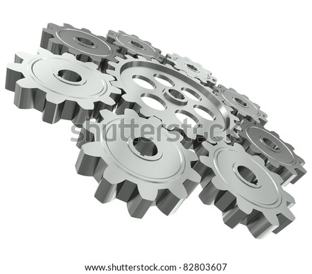 The group of metal gears - a symbol of teamwork - stock photo