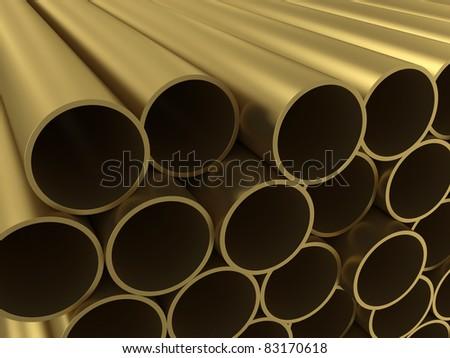 The group of non-ferrous alloy tubing - stock photo
