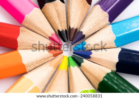 the group of pencil color - stock photo