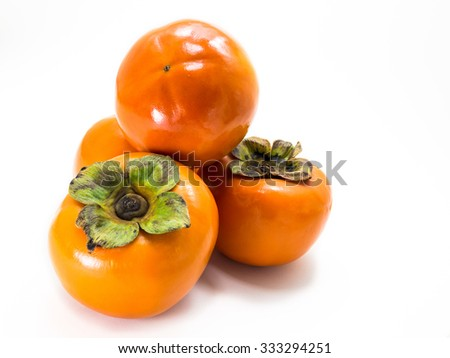 The group of persimmon fruit on White Background