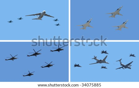 The group of planes and helicopters flies against the dark blue sky (four screen) - stock photo