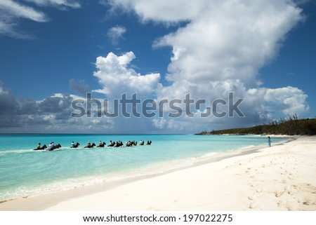 The group of tourists riding horses along the beach on Half Moon Cay (The Bahamas). - stock photo