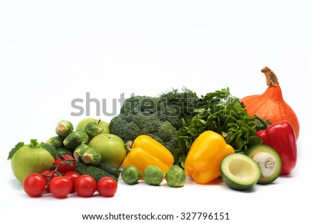 the group of vegetables and herbs on white background - stock photo