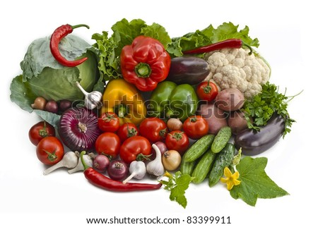 The group of vegetables isolatd on white background - stock photo