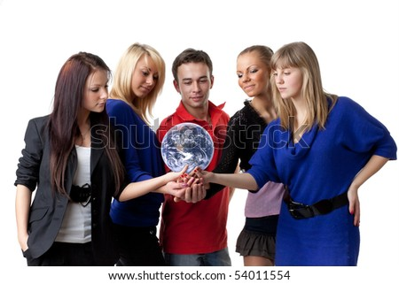 The group of young people holding the globe in hands on a white background.  Concept for environment conservation. - stock photo