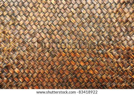 The grunge bamboo Wall made of bamboo weaving. - stock photo