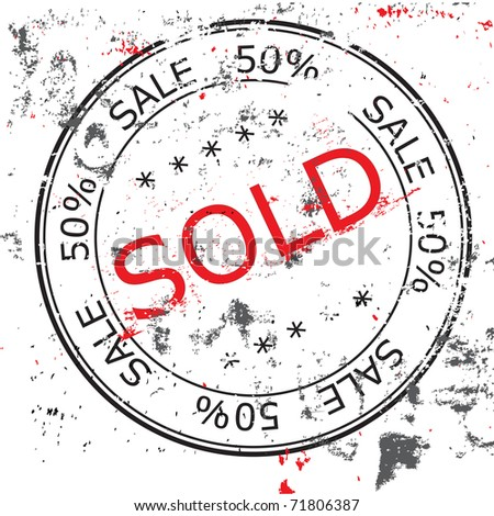the grunge Vector Sold stamp - stock photo