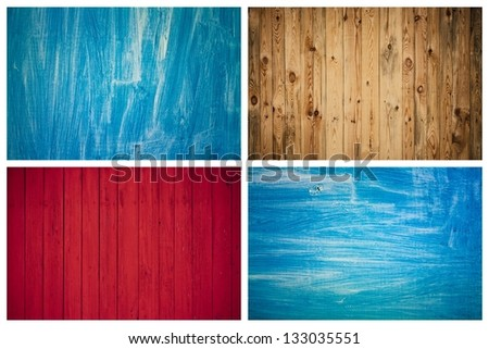 The Grunge Wood Texture With Natural Patterns. Surface of old wood Paint over. Set, Collage - stock photo