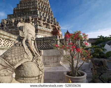 The Guardian Soldier of Wat Arun, Bangkok Thailand - stock photo