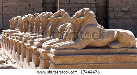 The Guards of Karnak Temple in Egypt - stock photo