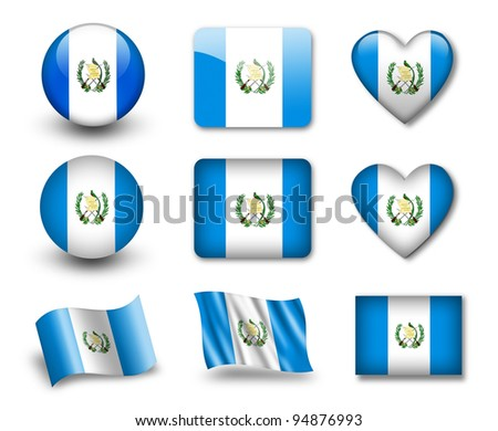 The Guatemala flag - set of icons and flags. glossy and matte on a white background. - stock photo