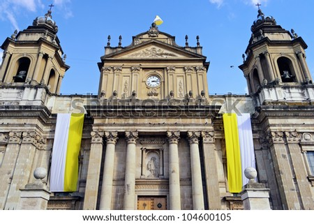 the Guatemala Metropolitan Cathedral in Plaza Mayor - stock photo