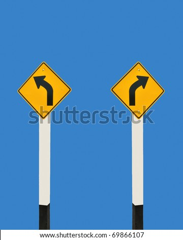 The Guide post  of turn left and turn right isolated on blue background - stock photo
