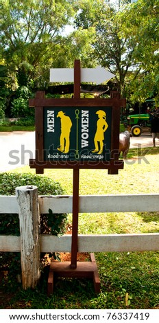 The Guide post to restroom for men and women - stock photo