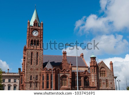 The Guildhall, neo-gothic building located at the main city square in Londonderry, Northern Ireland - stock photo