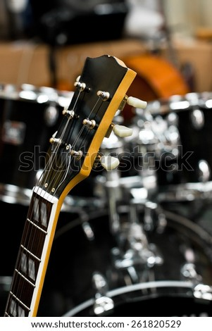 The guitar fretboard closeup - stock photo