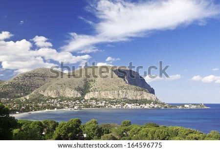 The Gulf of Mondello and Monte Gallo. Palermo, Sicily. - stock photo