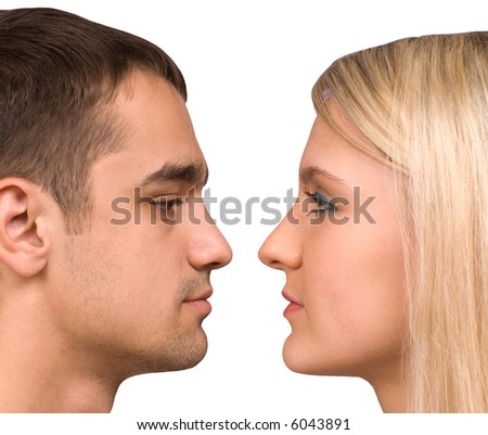 The guy and  girl on a white background - stock photo
