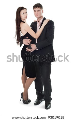 The guy and the girl in a dress suit - stock photo