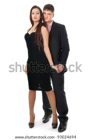 The guy and the girl in a dress suit