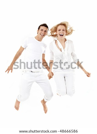 The guy and the girl in a jump on a white background - stock photo