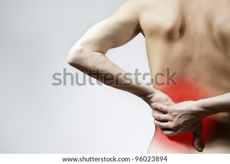 the guy back pain and back pain - stock photo