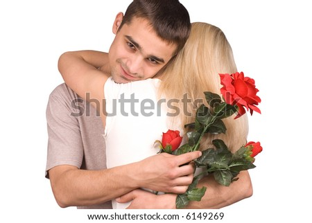 The guy, girl and a rose on white background - stock photo