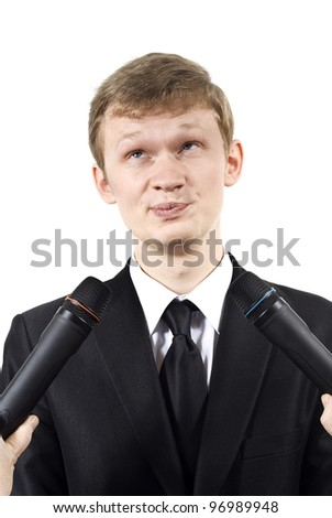 the guy gives comments  isolated on a white background - stock photo