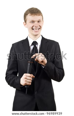 the guy knocks on the microphone isolated on a white background - stock photo