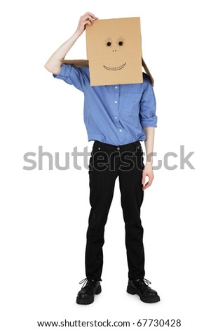 The guy wore a head box with a painted face - stock photo