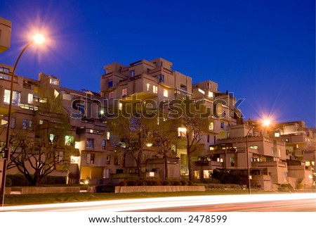 The Habitat 67 appartment complex is one of Montreal's most unusual landmark. - stock photo